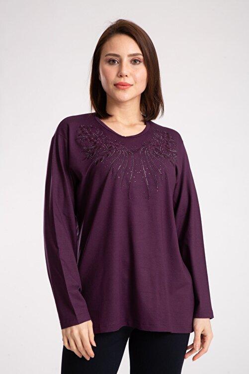 Mutlu City Kadın  Mor Penye Bluz 1
