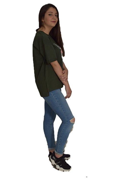 sufyy %100 Pamuk Penye Koyu Yeşil Oversize T-shirt 2