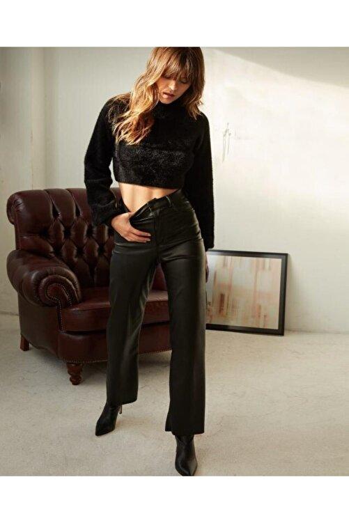 EZFER Kadın Siyah Deri Pantolon 2