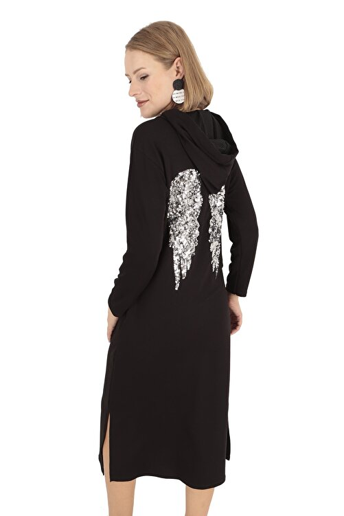 BUKETLİ Kadın Siyah Sırtı Payetli Kapüşonlu Maxi Sweat Elbise 1