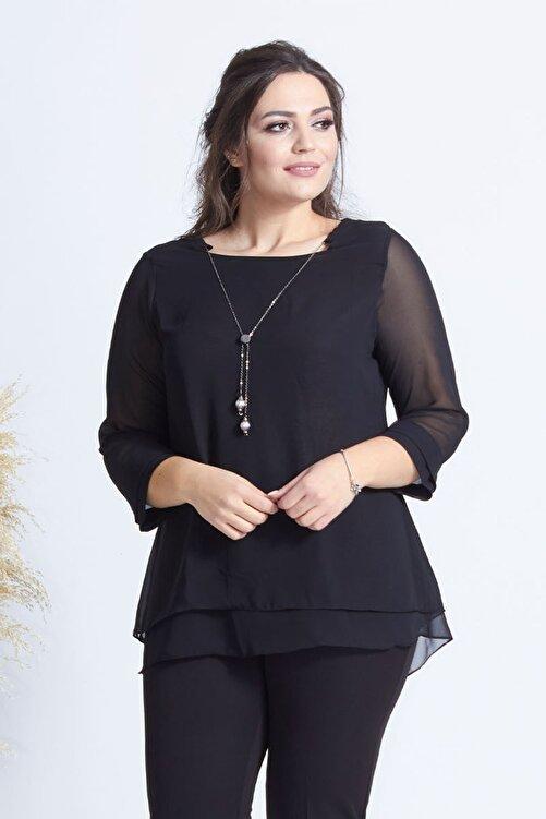 Moda Berray Kadın Siyah Kolye Yakalı Şifon Büyük Beden Bluz 1