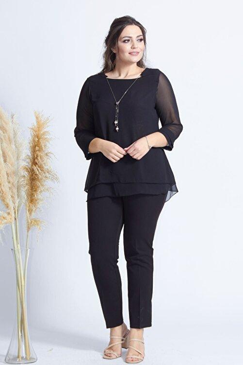 Moda Berray Kadın Siyah Kolye Yakalı Şifon Büyük Beden Bluz 2