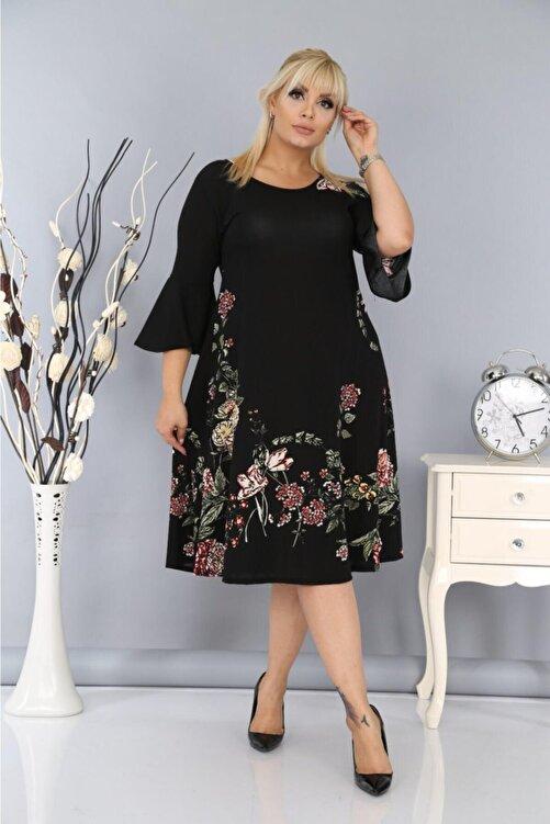 Big Love Kadın Büyük Beden Yarım Kollu Likralı Krep Kumaş Çiçekli Elbise Siyah 1