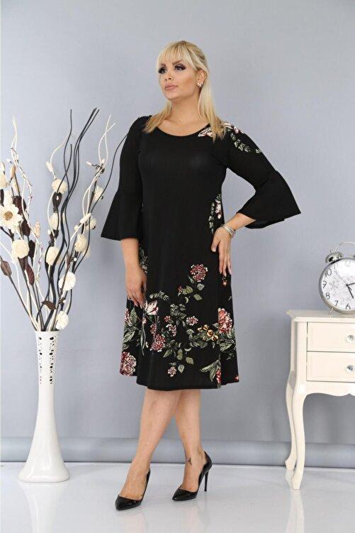 Big Love Kadın Büyük Beden Yarım Kollu Likralı Krep Kumaş Çiçekli Elbise Siyah 2