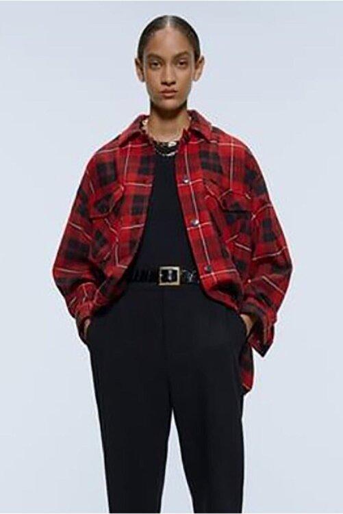 Madmext Kadın Mad Girls Kırmızı Over Size Oduncu Gömlek MG042 2