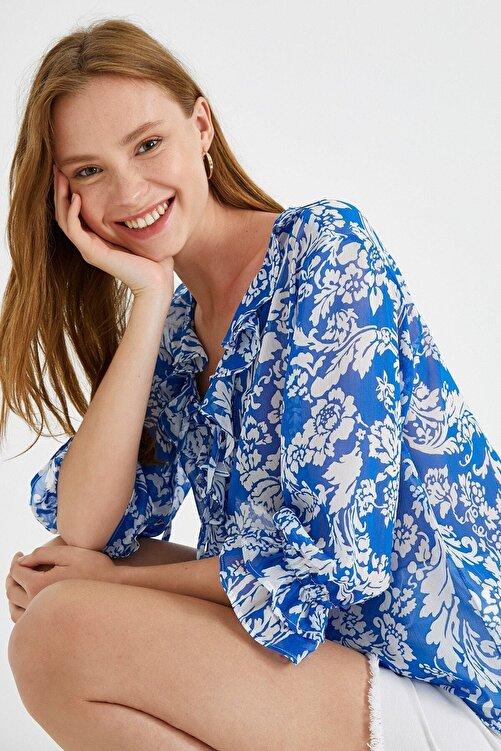 Koton Kadın Desenli Bluz Firfirli 1