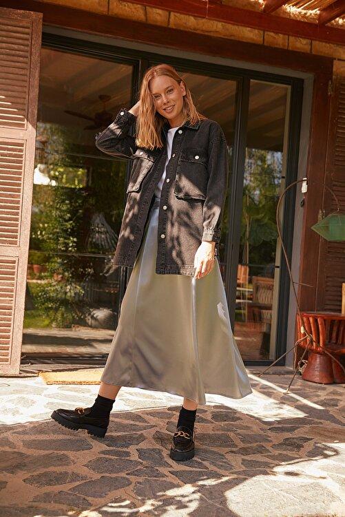 Trendyol Modest Siyah Cep Detaylı Denim Ceket TCTSS21CE0401 2