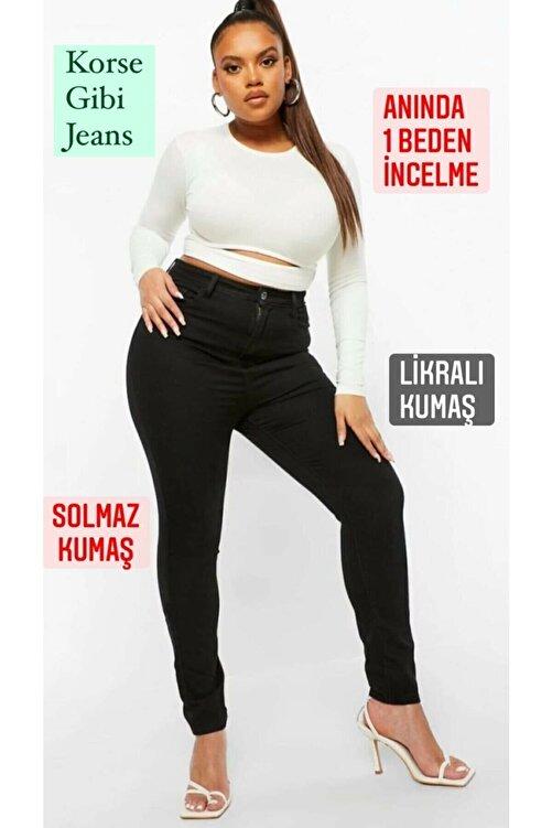Ramrod Kadın Siyah Büyük Beden Likralı Toparlayıcı Jeans 1
