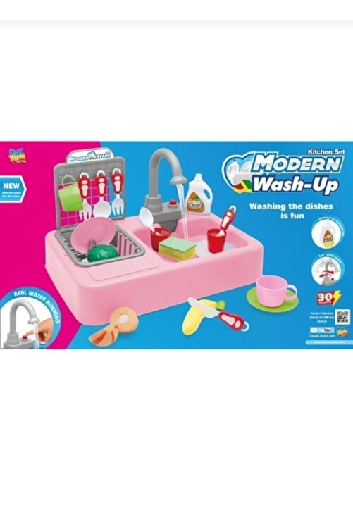 Kayyum Oyuncak Pilli Modern Akan Musluklu Lavabo Mutfak Seti 2