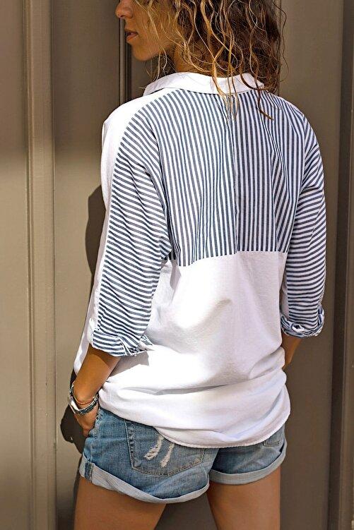 FURKAN EXCLUSIVE Kadın Çift Cepli Salaş Kesim Yarasa Kol Pamuk Gömlek 2