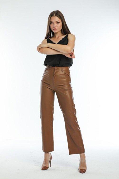 EZFER Kadın Kahve Deri Pantolon 2
