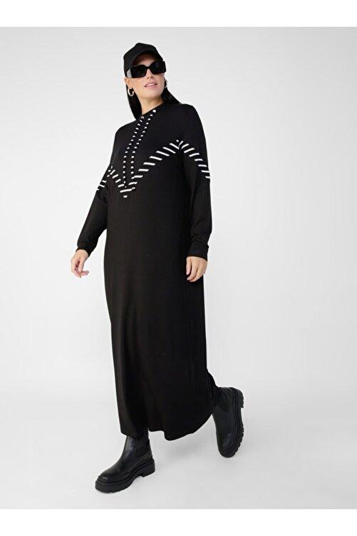 ALİA Kadın Beyaz Büyük Beden Doğal Kumaşlı Yakası Kuş Gözü Detaylı Elbise  1792741 1