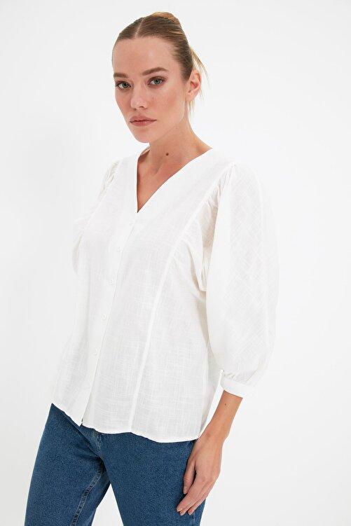 TRENDYOLMİLLA Beyaz Balon Kollu Gömlek TWOSS20GO0076 1