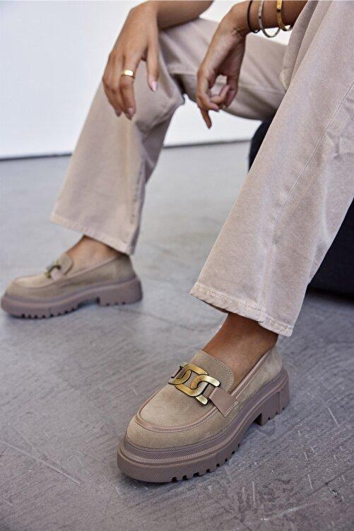 Cömert Ayakkabı Jurıca Kadın Loafer Vizon Süet 2