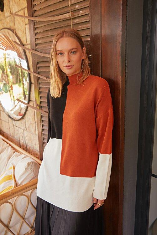 Trendyol Modest Kahverengi Renk Bloklu Basic Triko Kazak TCTAW22AK0054 2