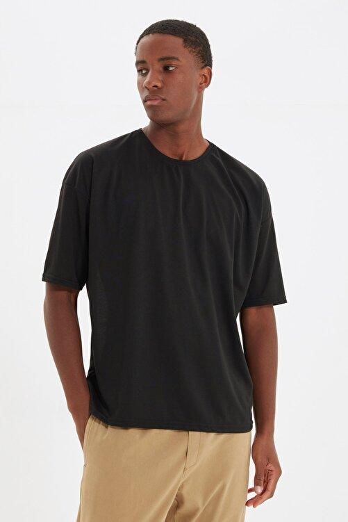 TRENDYOL MAN Siyah Basic Erkek Bisiklet Yaka Oversize Kısa Kollu T-Shirt TMNSS21TS0811 2