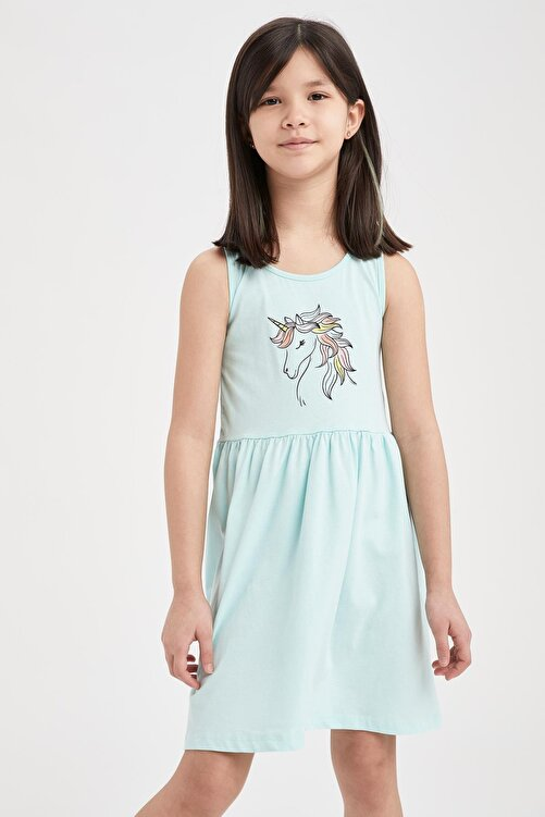 DeFacto Kız Çocuk Unicorn Baskılı Kolsuz Elbise 1