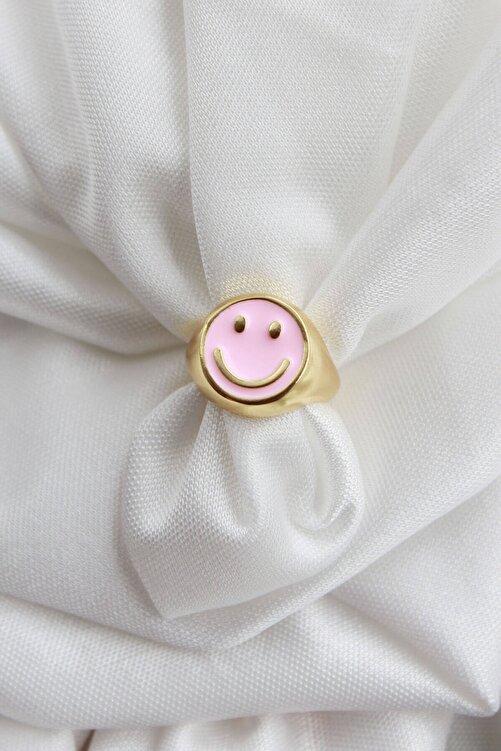 Niki Aksesuar Smile Pembe Mineli Ayarlanabilir Yüzük Gold Renk 1