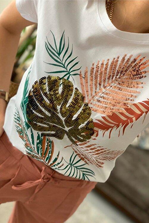 FURKAN EXCLUSIVE Kadın Beyaz Yaprak Desen Pul Işlemeli Pamuk Tişört 1