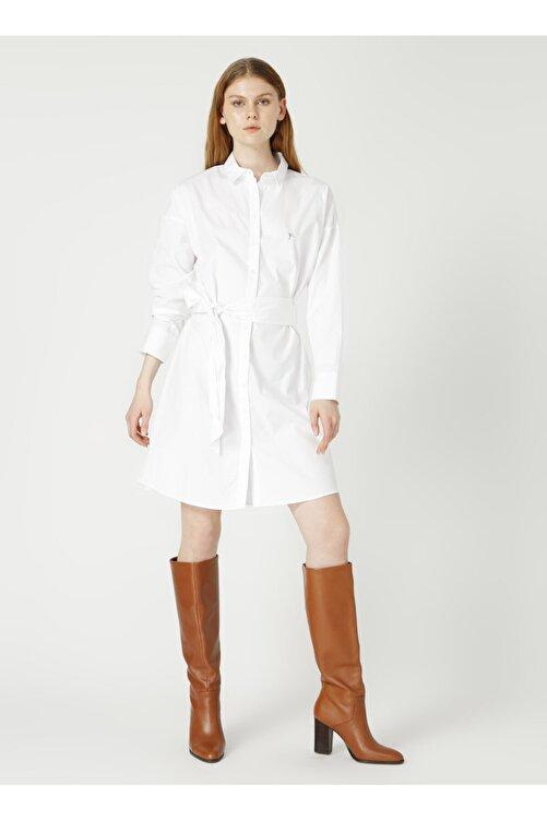 Fabrika Gömlek Yaka Düz Beyaz Kadın Elbise 1