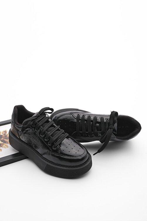 Marjin Kadın Siyah Rugan Kalın Taban Sneaker Ayakkabı Azin 2