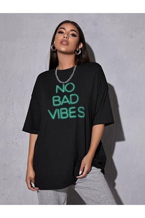 Leprikon Kadın Siyah Neon Baskılı Tshirt 1