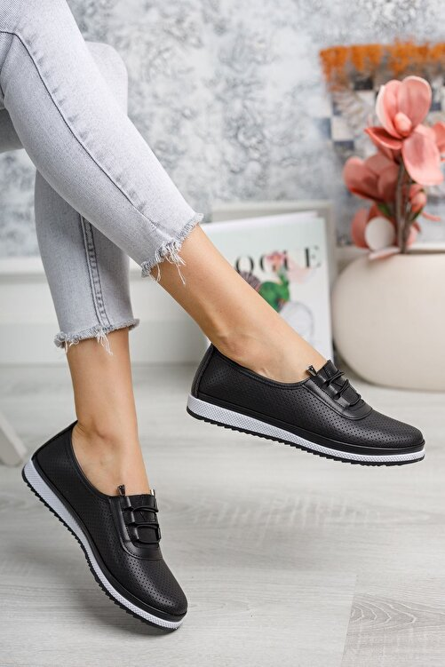 epaavm Ortopedik Pedli Lazerli Siyah Ayakkabı 2