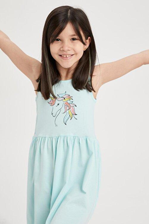 DeFacto Kız Çocuk Unicorn Baskılı Kolsuz Elbise 2