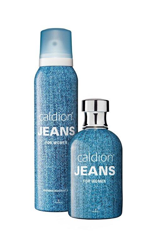 Caldion Jeans Edt 100 ml Kadın Parfüm 150 ml Kadın Deodorant Sprey Set 1