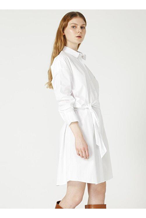 Fabrika Gömlek Yaka Düz Beyaz Kadın Elbise 2