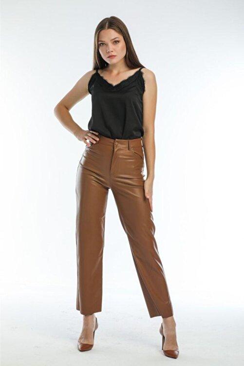 EZFER Kadın Kahve Deri Pantolon 1