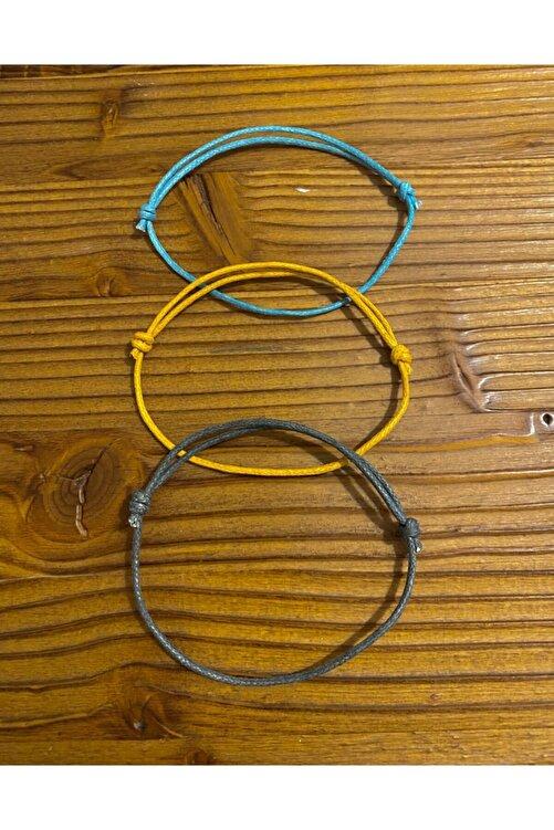 Daphne Store Kalın Ip-mavi,sarı,gri 3lü Bileklik 1