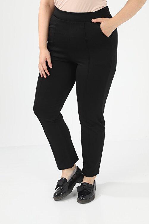 Prenses Tayt Kadın Siyah Büyük Beden Önü Çımalı Boru Paça Çelik Interlok Pantolon 2