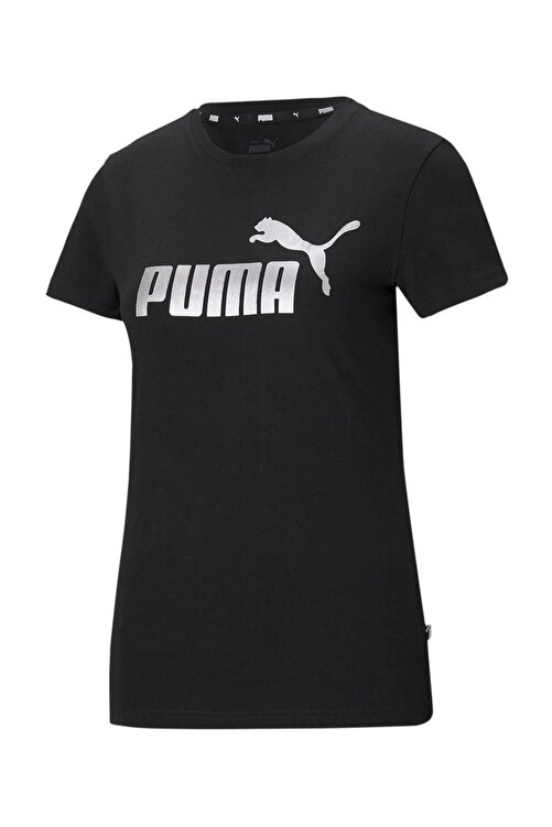 Puma Ess Metallic Logo Tee Kadın T-shirt Black-sılver 586890-51 1