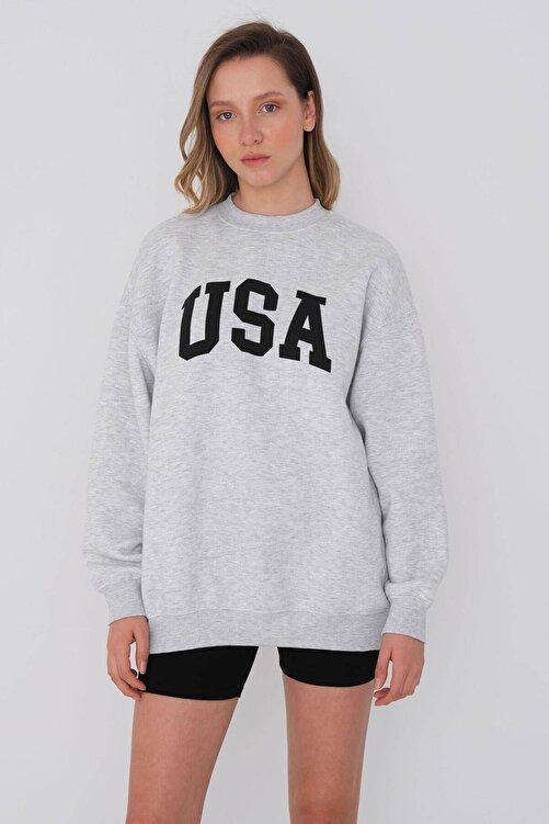 Addax Baskılı Sweatshirt S1147 - J1 2