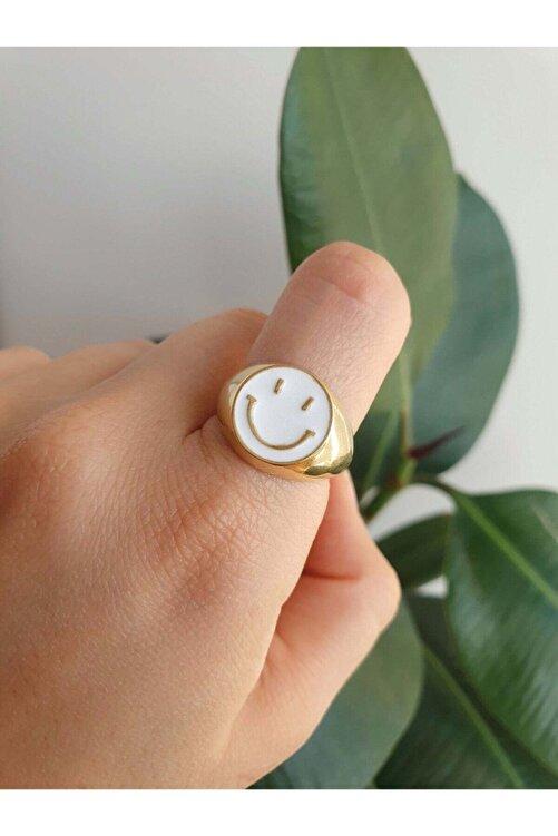 Sun&Moonbrand Altın Kaplama Gülen Yüz Smile Yüzük / Beyaz 2