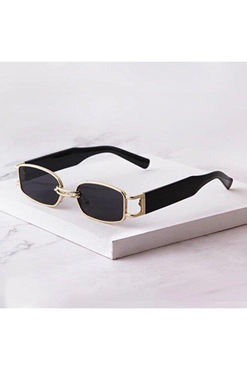 LOOKUP Kadın Siyah Dikdörtgen Gold Çerçeveli Vintage Güneş Gözlüğü 1