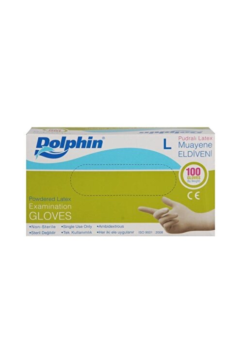 Dolphin Latex Pudralı Eldiven - Tıbbi Medikal Muayene Lateks Eldiven 100'lü Paket - L Beden 2