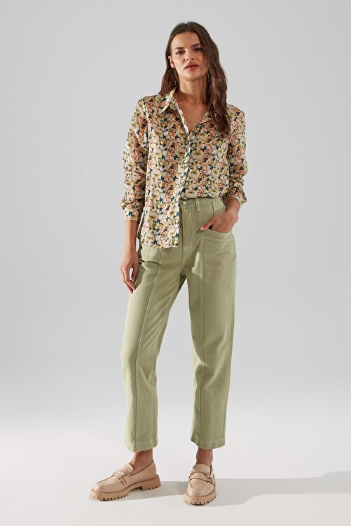 TRENDYOLMİLLA Haki Dikiş Detaylı Yüksek Bel Mom Jeans TWOSS20JE0386 1