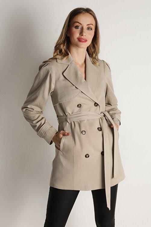 Select Moda Kadın Krem Kemerli Düğme Kapamalı Trençkot 1
