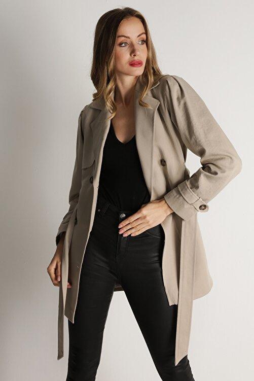 Select Moda Kadın Krem Kemerli Düğme Kapamalı Trençkot 2