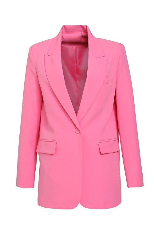 Quzu Kadın Şeker Pembe Blazer Ceket 2