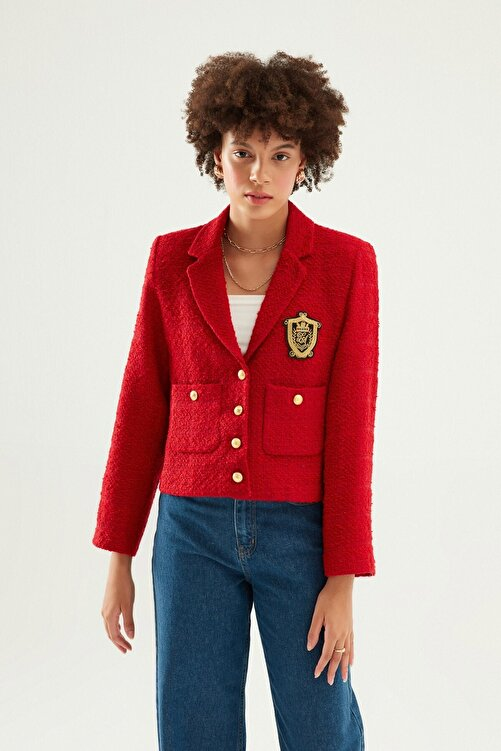 Quzu Armalı Blazer Ceket Kırmızı 1