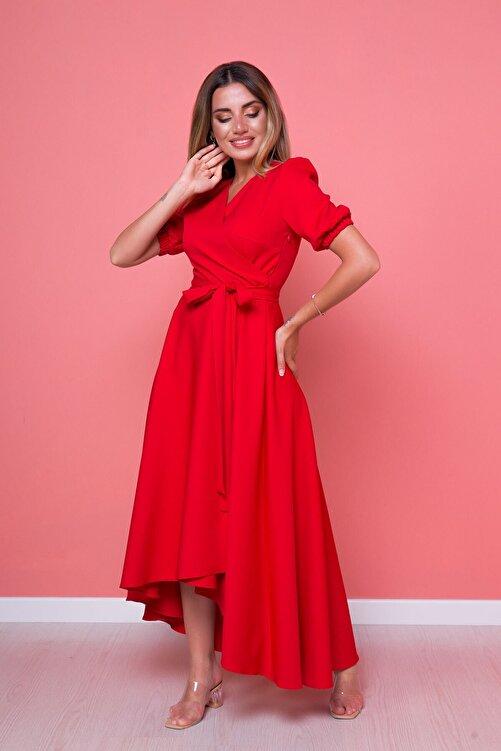 Bidoluelbise Kadın Kırmızı Büyük Beden Asimetrik Kesim Elbise 2