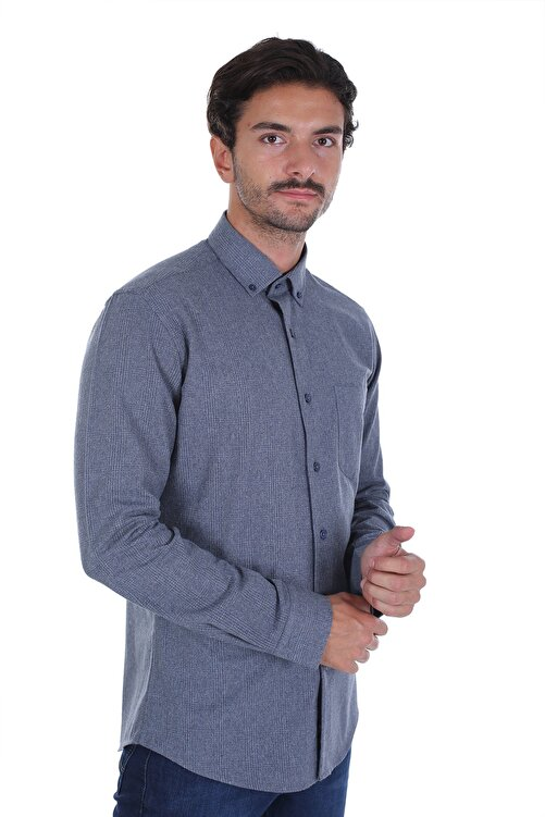 Diandor Erkek Antrasit Düz Renk Oduncu Gömlek 2