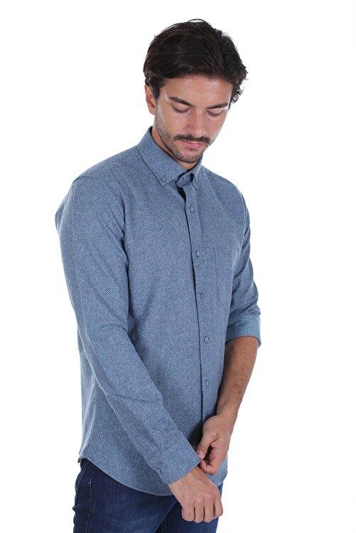 Diandor Erkek Lacivert Düz Renk Oduncu Gömlek 2