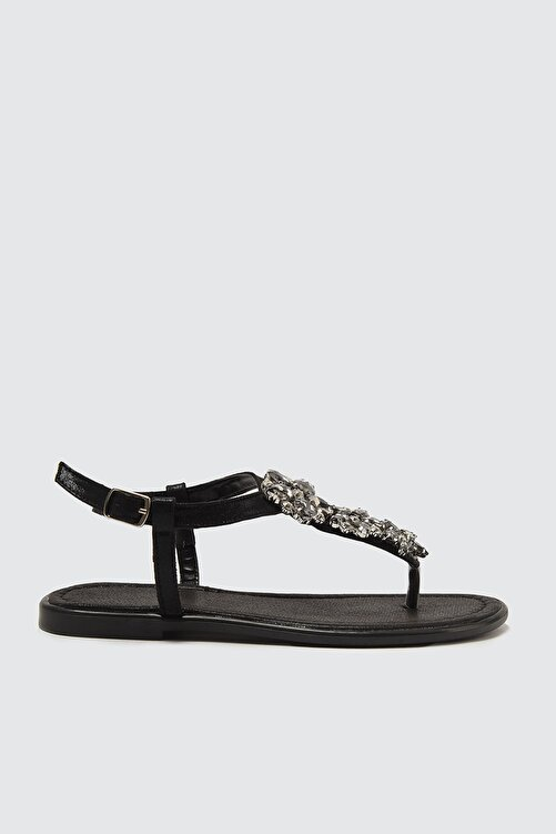 TRENDYOL SHOES Siyah Taşlı Kadın Sandalet TAKSS21SD0005 1