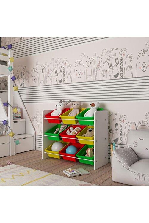 MORDEKA Renkli 9 Sepetli Montessori Oyuncak Dolabı 2
