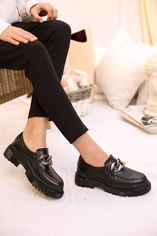 SABELİN SHOES Kadın Siyah Zincirli Kalın Kabanlı Loafer Ayakkabı 1
