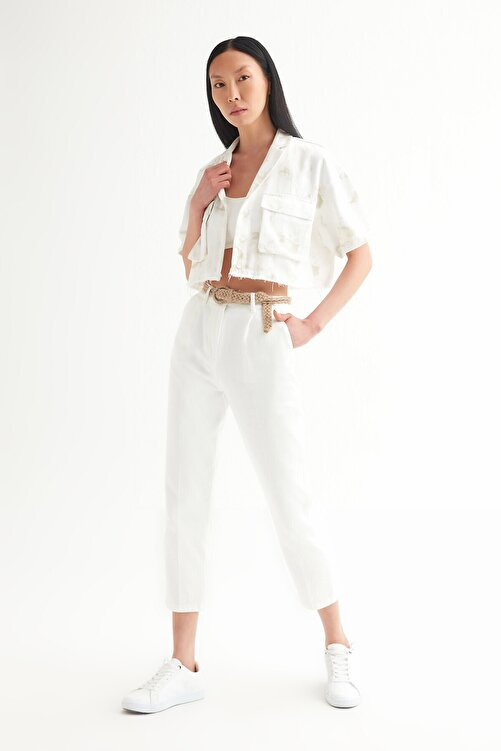 Açelya Okcu Kadın Beyaz Yüksek Bel Cigarette Kemerli Pantolon 2